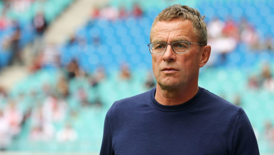 LEIPZIG, GERMANY - SEPTEMBER 15:  Head coach Ralf Rangnick of Leipzig looks on prior to the Bundesliga match between RB Leipzig and Hannover 96 at Red Bull Arena on September 15, 2018 in Leipzig, Germany. (Photo by Matthias Kern/Bongarts/Getty Images)