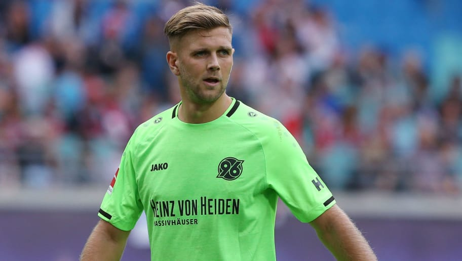 LEIPZIG, GERMANY - SEPTEMBER 15:  Niclas Fuellkrug of Hannover looks on   during the Bundesliga match between RB Leipzig and Hannover 96 at Red Bull Arena on September 15, 2018 in Leipzig, Germany.  (Photo by Matthias Kern/Bongarts/Getty Images)