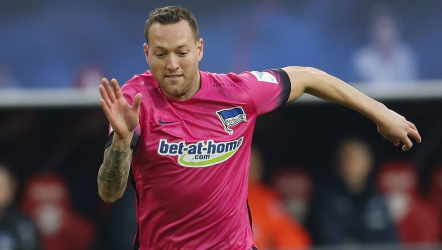 LEIPZIG, GERMANY - DECEMBER 17:  Julian Schieber of Hertha BSC runs with the ball during the Bundesliga match between RB Leipzig and Hertha BSC at Red Bull Arena on December 17, 2016 in Leipzig, Germany.  (Photo by Boris Streubel/Bongarts/Getty Images)