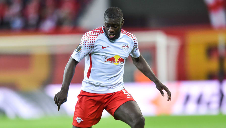 LEIPZIG, GERMANY - APRIL 05: Dayot Upamecano of RB Leipzig during the UEFA Europa League quarter final leg one match between RB Leipzig and Olympique Marseille at Red Bull Arena on April 5, 2018 in Leipzig, Germany. (Photo by Lukasz Laskowski/PressFocus/MB Media/Getty Images)