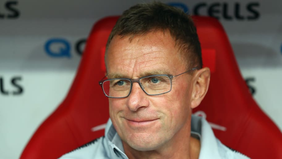LEIPZIG, GERMANY - AUGUST 30:  Head coach Ralf Rangnick of Leipzig looks on prior to the UEFA Europa League Qualifying Play-Off second leg match between RB Leipzig and Zorya Luhansk at Red Bull Arena on August 30, 2018 in Leipzig, Germany.  (Photo by Martin Rose/Bongarts/Getty Images)