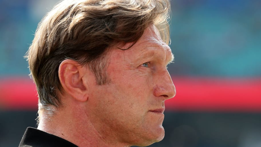 LEIPZIG, GERMANY - APRIL 21:  Head coach Ralph Hasenhuettl of Leipzig looks on prior to the Bundesliga match between RB Leipzig and TSG 1899 Hoffenheim at Red Bull Arena on April 21, 2018 in Leipzig, Germany.  (Photo by Matthias Kern/Bongarts/Getty Images)