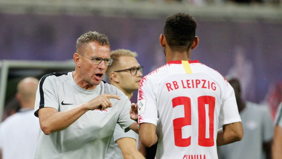 LEIPZIG, GERMANY - AUGUST 09:  Headcoach Ralf Rangnick talks to Matheus Cunha of Leipzig during the UEFA Europa League Third Qualifying Round: 1st leg between RB Leipzig and Universitatea Craiova at Red Bull Arena on August 09, 2018 in Leipzig, Germany. (Photo by Karina Hessland-Wissel/Bongarts/Getty Images)