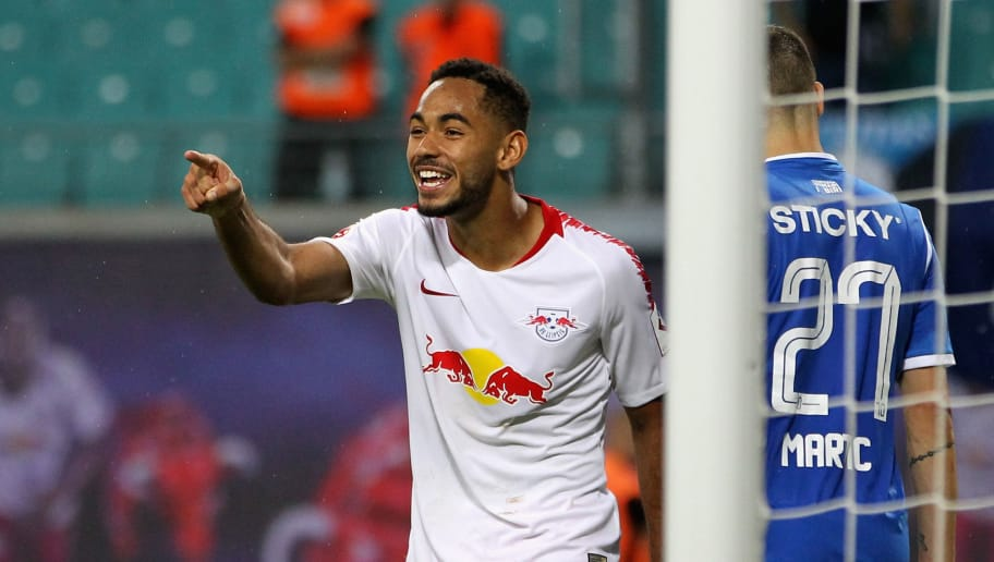 LEIPZIG, SAXONY - AUGUST 09:  Matheus Cunha of Leipzig celebrates the second goal during the UEFA Europa League Third Qualifying Round: 1st leg between RB Leipzig and Universitatea Craiova at Red Bull Arena on August 09, 2018 in Leipzig, Germany.  (Photo by Karina Hessland/Bongarts/Getty Images)