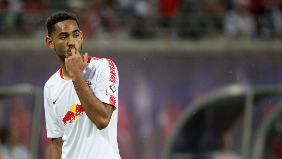 LEIPZIG, GERMANY - AUGUST 09:  Matheus Cunha of Leipzig with finger in his mouth during the UEFA Europa League Third Qualifying Round: 1st leg between RB Leipzig and Universitatea Craiova at Red Bull Arena on August 09, 2018 in Leipzig, Germany. (Photo by Karina Hessland-Wissel/Bongarts/Getty Images)