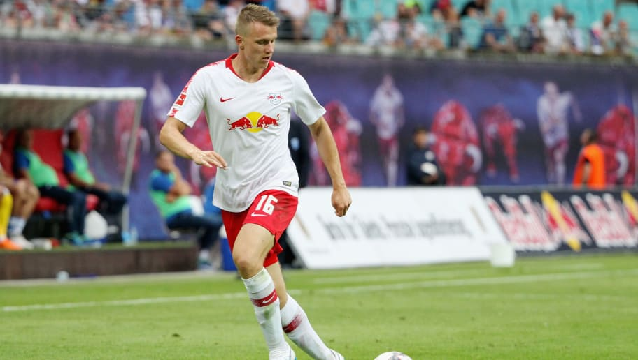 LEIPZIG, GERMANY - AUGUST 09:  Lukas Klostermann of Leipzig during the UEFA Europa League Third Qualifying Round: 1st leg between RB Leipzig and Universitatea Craiova at Red Bull Arena on August 09, 2018 in Leipzig, Germany. (Photo by Karina Hessland-Wissel/Bongarts/Getty Images)