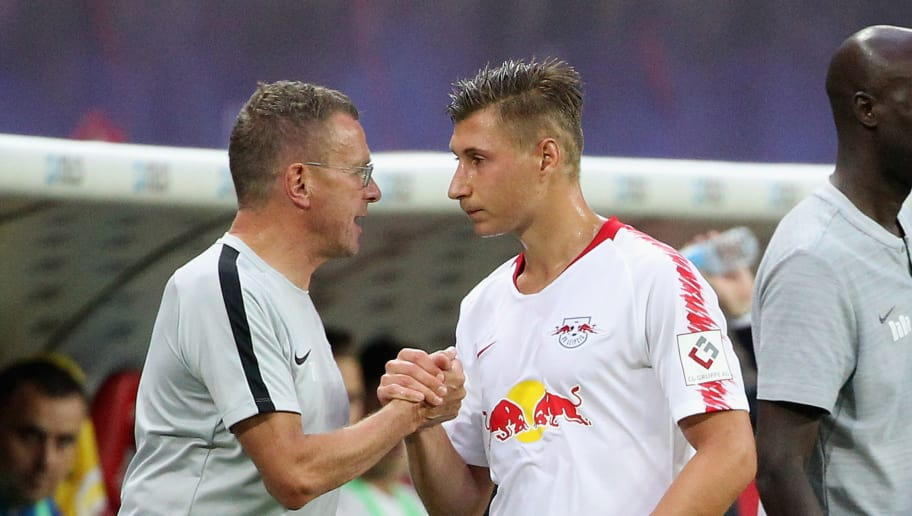 LEIPZIG, SAXONY - AUGUST 09:  Headcoach Ralf Rangnick and to Willi Orban of Leipzig after the replacement during the UEFA Europa League Third Qualifying Round: 1st leg between RB Leipzig and Universitatea Craiova at Red Bull Arena on August 09, 2018 in Leipzig, Germany.  (Photo by Karina Hessland/Bongarts/Getty Images)