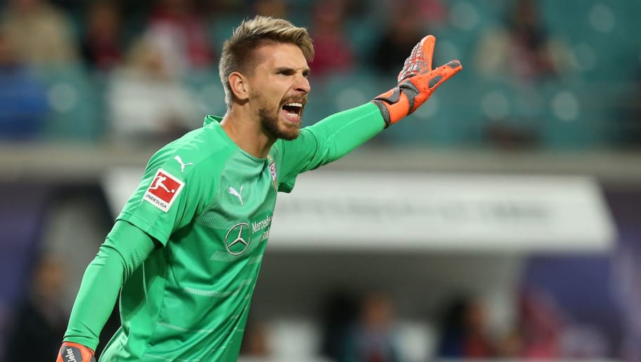 LEIPZIG, GERMANY - SEPTEMBER 26:  Ron Robert Zieler of Stuttgart gestures during the Bundesliga match between RB Leipzig and VfB Stuttgart at Red Bull Arena on September 26, 2018 in Leipzig, Germany. (Photo by Matthias Kern/Bongarts/Getty Images)