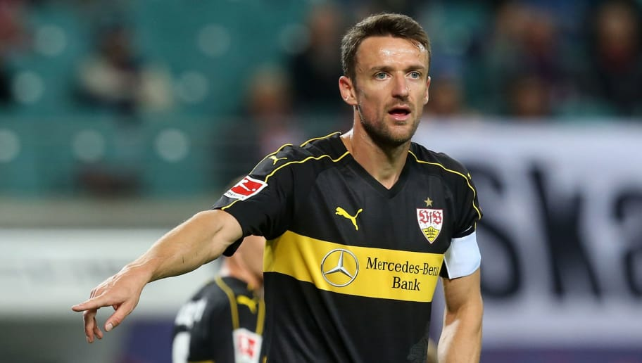 LEIPZIG, GERMANY - SEPTEMBER 26:  Christian Gentner of Stuttgart gestures during the Bundesliga match between RB Leipzig and VfB Stuttgart at Red Bull Arena on September 26, 2018 in Leipzig, Germany.  (Photo by Matthias Kern/Bongarts/Getty Images)
