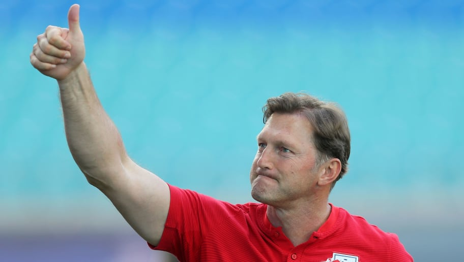 LEIPZIG, GERMANY - MAY 05:  Head coach Ralph Hasenhuettl of Leipzig shows his delight after winning the Bundesliga match between RB Leipzig and VfL Wolfsburg at Red Bull Arena on May 5, 2018 in Leipzig, Germany.  (Photo by Matthias Kern/Bongarts/Getty Images)
