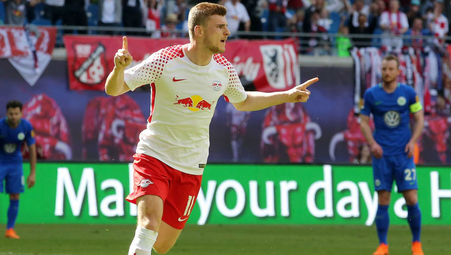 LEIPZIG, GERMANY - MAY 05:  Timo Werner of Leipzig jubilates after scoring the second goal during the Bundesliga match between RB Leipzig and VfL Wolfsburg at Red Bull Arena on May 5, 2018 in Leipzig, Germany.  (Photo by Matthias Kern/Bongarts/Getty Images)
