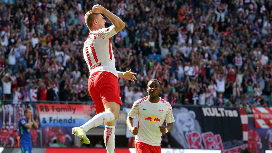 LEIPZIG, GERMANY - MAY 05:  Timo Werner (L) of Leipzig jubilates with team mate Ademola Lookman after scoring the second goal during the Bundesliga match between RB Leipzig and VfL Wolfsburg at Red Bull Arena on May 5, 2018 in Leipzig, Germany.  (Photo by Matthias Kern/Bongarts/Getty Images)