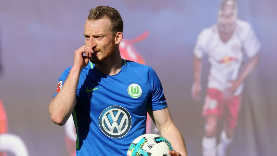 LEIPZIG, GERMANY - MAY 05:  Maximilian Arnold of Wolfsburg looks on during the Bundesliga match between RB Leipzig and VfL Wolfsburg at Red Bull Arena on May 5, 2018 in Leipzig, Germany. (Photo by Matthias Kern/Bongarts/Getty Images)