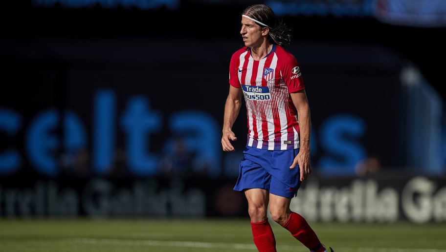 VIGO, SPAIN - SEPTEMBER 01:  Filipe Luis of Atletico de Madrid in action during the La Liga match between RC Celta de Vigo and Club Atletico de Madrid at Abanca Balaidos Stadium on September 1, 2018 in Vigo, Spain  (Photo by Quality Sport Images/Getty Images)