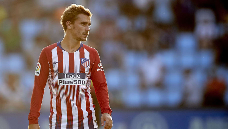 VIGO, SPAIN - SEPTEMBER 01:  Antoine Griezmann of Atletico de Madrid looks on during the La Liga match between RC Celta de Vigo and Club Atletico de Madrid at Abanca Balaidos Stadium on September 1, 2018 in Vigo, Spain  (Photo by Quality Sport Images/Getty Images)