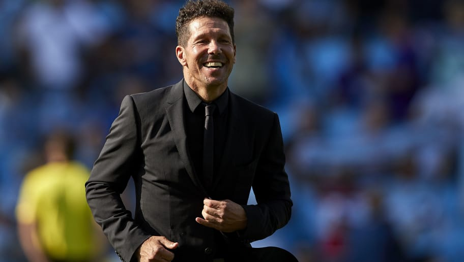 VIGO, SPAIN - SEPTEMBER 01:  Diego 'Cholo' Simeone the manager of Atletico de Madrid looks on prior to the La Liga match between RC Celta de Vigo and Club Atletico de Madrid at Abanca Balaidos Stadium on September 1, 2018 in Vigo, Spain  (Photo by Quality Sport Images/Getty Images)