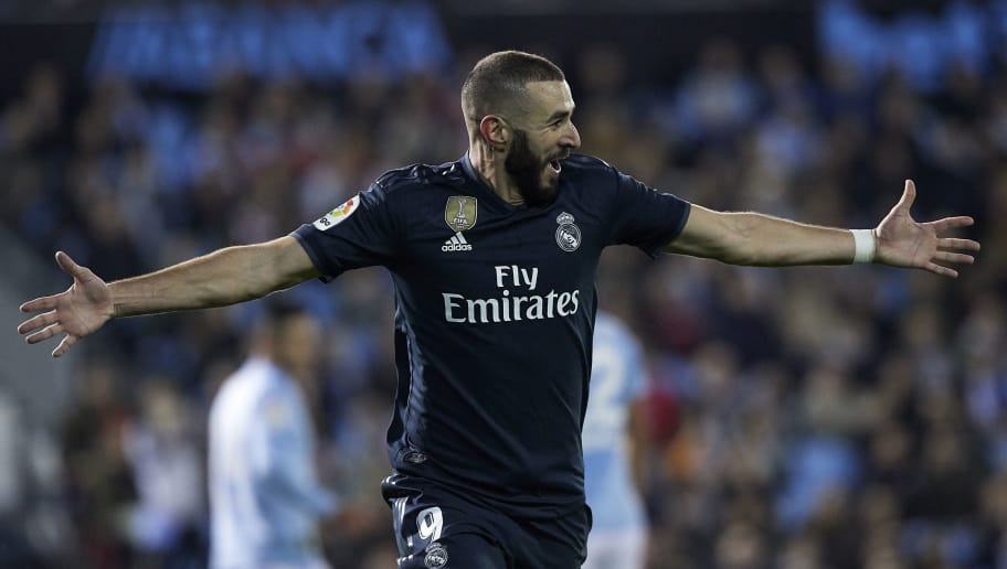 VIGO, SPAIN - NOVEMBER 11:  Karim Benzema of Real Madrid celebrates after scoring his sides first goal during the La Liga match between RC Celta de Vigo and Real Madrid CF at Abanca-Balaidos on November 11, 2018 in Vigo, Spain  (Photo by Quality Sport Images/Getty Images)