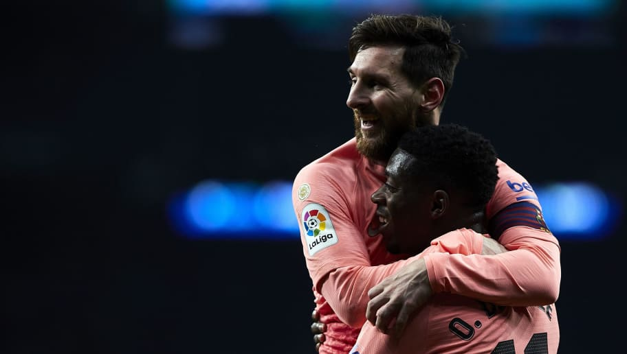 BARCELONA, SPAIN - DECEMBER 08: Lionel Messi and Ousmane Dembele of FC Barcelona celebrates the second goal during the La Liga match between RCD Espanyol and FC Barcelona at RCDE Stadium on December 08, 2018 in Barcelona, Spain. (Photo by Quality Sport Images/Getty Images)