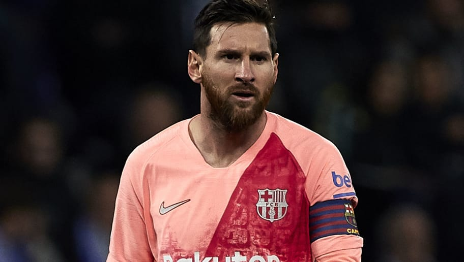BARCELONA, SPAIN - DECEMBER 08: Lionel Messi of FC Barcelona during the La Liga match between RCD Espanyol and FC Barcelona at RCDE Stadium on December 08, 2018 in Barcelona, Spain. (Photo by Quality Sport Images/Getty Images)