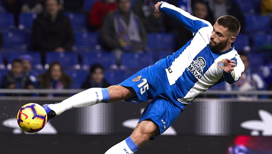 BARCELONA, SPAIN - NOVEMBER 25: David Lopez of Espanyol in action during the La Liga match between RCD Espanyol and Girona FC at RCDE Stadium on November 25, 2018 in Barcelona, Spain. (Photo by Quality Sport Images/Getty Images)
