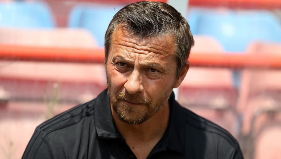 ALDERSHOT, ENGLAND - JULY 14:  Fulham Manager Slavisa Jokanovic looks on prior to the pre-season friendly between Reading and Fulham at the EBB Stadium on July 14, 2018 in Aldershot, England.  (Photo by Bryn Lennon/Getty Images)