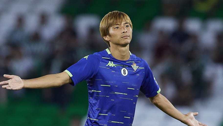 SEVILLE, SPAIN - SEPTEMBER 30:  Takashi Inui of Betis warms up during the La Liga match between Real Betis Balompie and CD Leganes at Estadio Benito Villamarin on September 30, 2018 in Seville, Spain.  (Photo by Quality Sport Images/Getty Images)