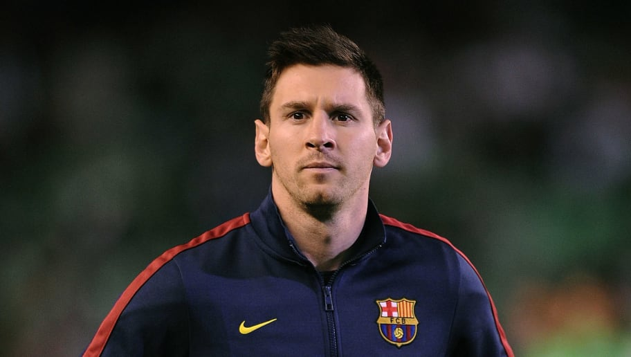 SEVILLE, SPAIN - NOVEMBER 10:  Lionel Messi of FC Barcelona looks on prior to the La Liga match between Real Betis Balompie and FC Barcelona at Estadio Benito Villamarin on November 10, 2013 in Seville, Spain. Messi picked up a hamstring tear injury early on in the match and has now been ruled out for the next six to eight weeks according to the club.  (Photo by Denis Doyle/Getty Images)