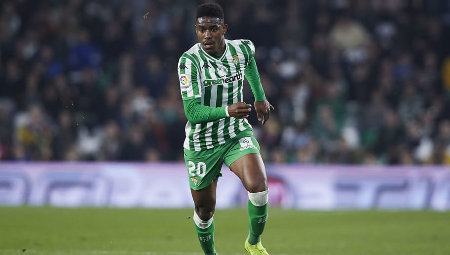 SEVILLE, SPAIN - DECEMBER 09: Junior Firpo of Real Betis in action during the La Liga match between Real Betis Balompie and Rayo Vallecano de Madrid at Estadio Benito Villamarin on December 09, 2018 in Seville, Spain. (Photo by Quality Sport Images/Getty Images)