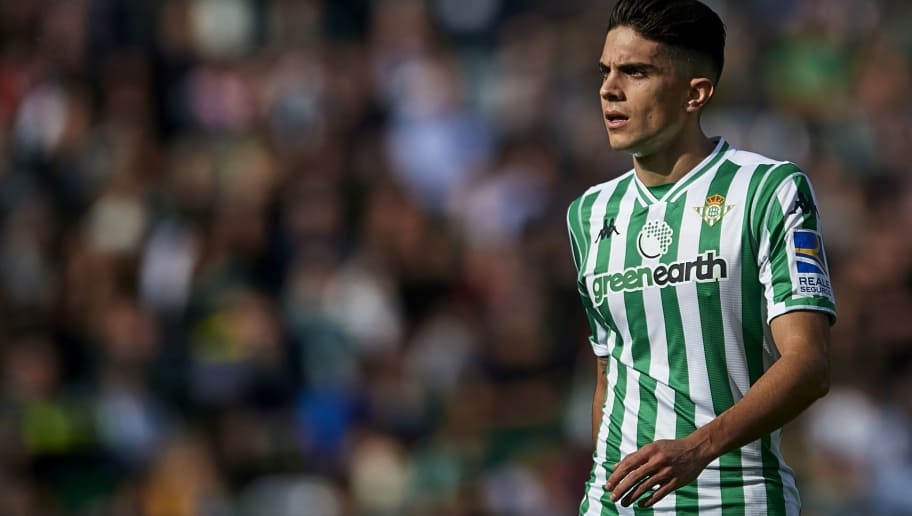 SEVILLE, SPAIN - DECEMBER 02: Marc Bartra of Real Betis Balompie looks on during the La Liga match between Real Betis Balompie and Real Sociedad at Estadio Benito Villamarin on December 02, 2018 in Seville, Spain. (Photo by Aitor Alcalde Colomer/Getty Images)