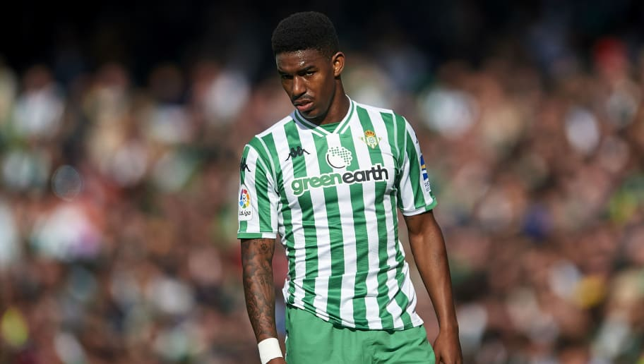 SEVILLE, SPAIN - DECEMBER 02: Junior Firpo of Real Betis Balompie looks on during the La Liga match between Real Betis Balompie and Real Sociedad at Estadio Benito Villamarin on December 02, 2018 in Seville, Spain. (Photo by Aitor Alcalde Colomer/Getty Images)