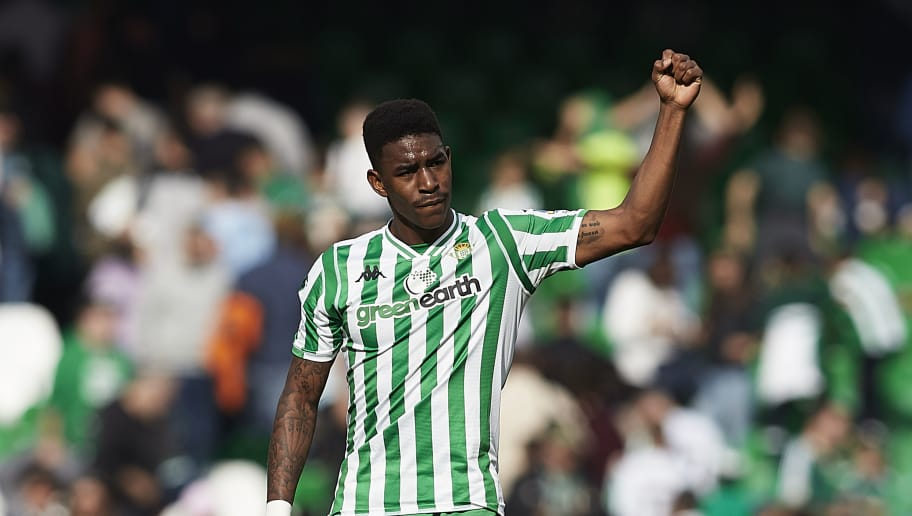 SEVILLE, SPAIN - DECEMBER 02: Junior Firpo of Real Betis celebrates scoring his team's opening goal during the La Liga match between Real Betis Balompie and Real Sociedad at Estadio Benito Villamarin on December 02, 2018 in Seville, Spain. (Photo by Quality Sport Images/Getty Images)