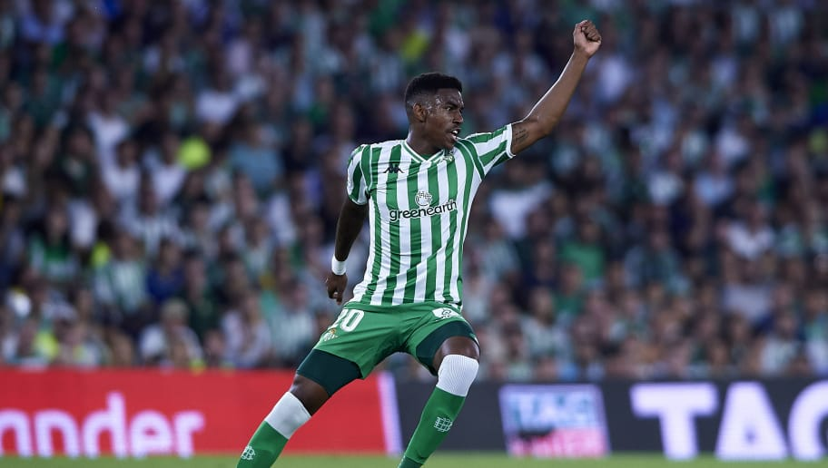 SEVILLE, SPAIN - SEPTEMBER 02:  Hector Junior Firpo Adames of Real Betis reacts during the La Liga match between Real Betis Balompie and Sevilla FC at Estadio Benito Villamarin on September 2, 2018 in Seville, Spain. (Photo by Quality Sport Images/Getty Images)