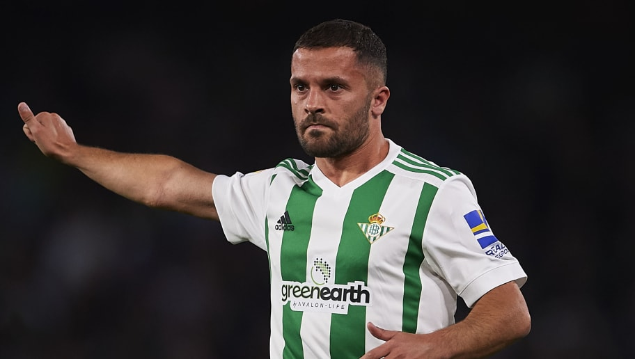 SEVILLE, SPAIN - APRIL 30:  Riza Durmisi of Real Betis Balompie reacts during the La Liga match between Real Betis and Malaga at Estadio Benito Villamarin on April 30, 2018 in Seville, Spain.  (Photo by Aitor Alcalde Colomer/Getty Images)