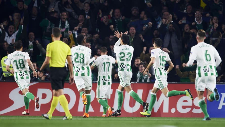 SEVILLE, SPAIN - FEBRUARY 18:  Aissa Mandi of Real Betis celebrates after scoring goal during the La Liga match between Real Betis and Real Madrid at Benito Villamrin stadium on February 18, 2018 in Seville, Spain.  (Photo by Aitor Alcalde/Getty Images)