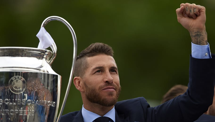 MADRID, SPAIN - MAY 27:  Sergio Ramos of Real Madrid reacts during Real Madrid team celebration at Cibeles Square after winning their 13th European Cup on May 27, 2018 in Madrid, Spain.  (Photo by Quality Sport Images/Getty Images)