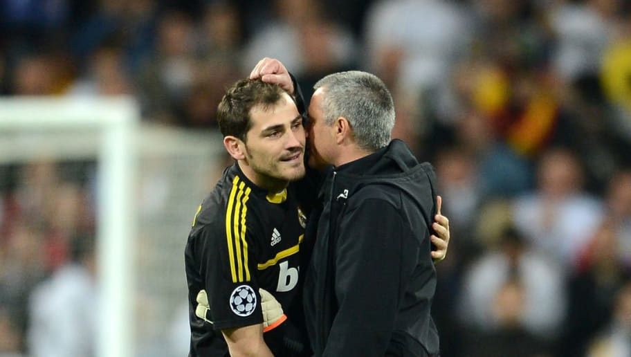 MADRID, SPAIN - APRIL 25:  Iker Casillas of Real Madrid speaks to head coach Jose Mourinho of Real Madrid during the UEFA Champions League Semi Final second leg between Real Madrid CF and Bayern Munich at The Bernabeu Stadium on April 25, 2012 in Madrid, Spain.  (Photo by Jasper Juinen/Getty Images)
