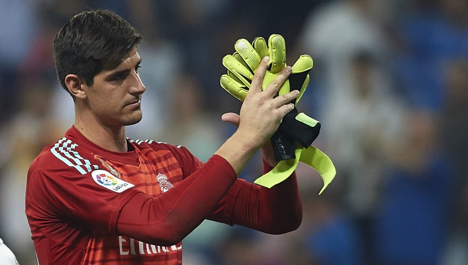 MADRID, SPAIN - SEPTEMBER 01:  Thibaut Courtois of Real Madrid reacts after during the La Liga match between Real Madrid CF and CD Leganes at Estadio Santiago Bernabeu on September 1, 2018 in Madrid, Spain. (Photo by Quality Sport Images/Getty Images)