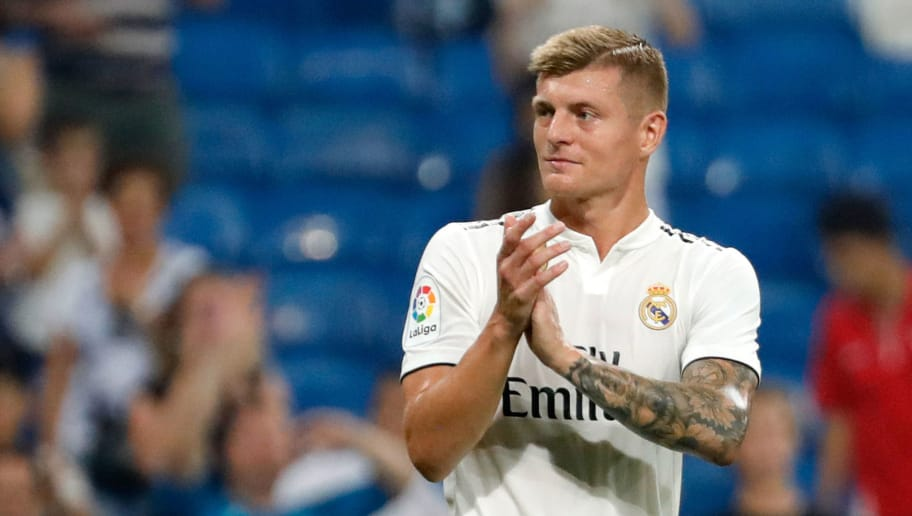 MADRID, SPAIN - SEPTEMBER 01: Toni Kroos of Real Madrid  looks on  during the La Liga match between Real Madrid CF and CD Leganes at Estadio Santiago Bernabeu on September 1, 2018 in Madrid, Spain.