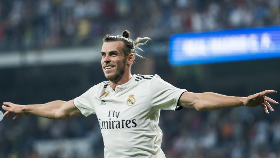 MADRID, SPAIN - SEPTEMBER 01: Gareth Bale of Real Madrid celebrates scoring the first goal for his team during the La Liga match between Real Madrid CF and CD Leganes at Estadio Santiago Bernabeu on September 1, 2018 in Madrid, Spain. (Photo by Power Sport Images/Getty Images)