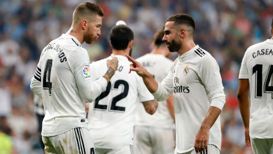 MADRID, SPAIN - SEPTEMBER 01:  Sergio Ramos of Real Madrid  celebrates after scoring his team`s third goal   during the La Liga match between Real Madrid CF and CD Leganes at Estadio Santiago Bernabeu on September 1, 2018 in Madrid, Spain.