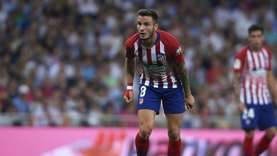 MADRID, SPAIN - SEPTEMBER 29:  Saul Niguez of Club Atletico de Madrid in action during the La Liga match between Real Madrid CF and Club Atletico de Madrid at Estadio Santiago Bernabeu on September 29, 2018 in Madrid, Spain.  (Photo by Quality Sport Images/Getty Images)