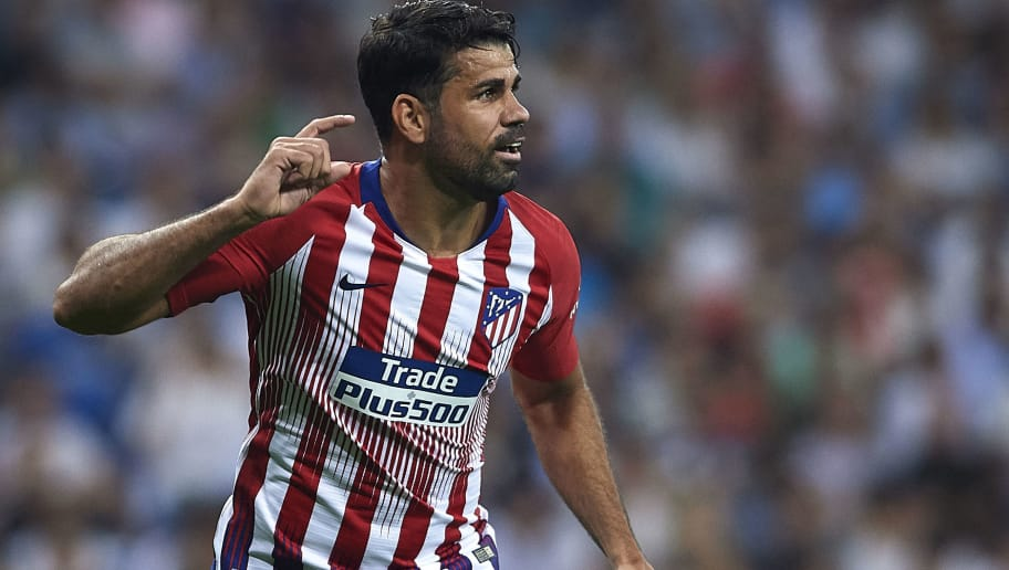 MADRID, SPAIN - SEPTEMBER 29:  Diego Costa of Club Atletico de Madrid reacts during the La Liga match between Real Madrid CF and Club Atletico de Madrid at Estadio Santiago Bernabeu on September 29, 2018 in Madrid, Spain.  (Photo by Quality Sport Images/Getty Images)