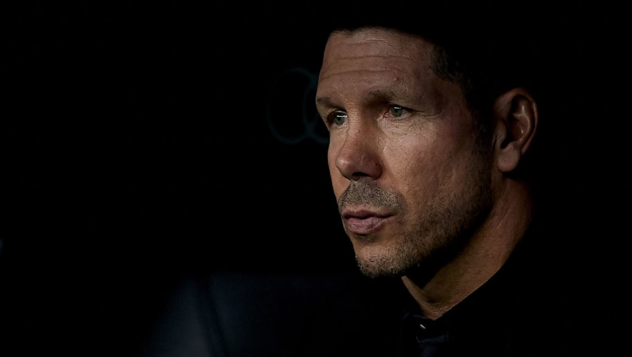 MADRID, SPAIN - SEPTEMBER 29:  Diego Pablo Simeone, Manager of Atletico de Madrid looks on prior to the La Liga match between Real Madrid CF and Club Atletico de Madrid at Estadio Santiago Bernabeu on September 29, 2018 in Madrid, Spain. (Photo by Quality Sport Images/Getty Images)