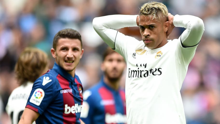 MADRID, SPAIN - OCTOBER 20:  Mariano Diaz of Real Madrid reacts during the La Liga match between Real Madrid CF and Levante UD at Estadio Santiago Bernabeu on October 20, 2018 in Madrid, Spain. (Photo by Denis Doyle/Getty Images)