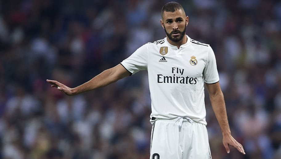 MADRID, SPAIN - SEPTEMBER 22:  Karim Benzema of Real Madrid reacts during the La Liga match between Real Madrid CF and RCD Espanyol at Estadio Santiago Bernabeu on September 22, 2018 in Madrid, Spain. (Photo by Quality Sport Images/Getty Images)