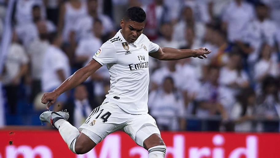 MADRID, SPAIN - SEPTEMBER 22:  Casemiro of Real Madrid in action during the La Liga match between Real Madrid CF and RCD Espanyol at Estadio Santiago Bernabeu on September 22, 2018 in Madrid, Spain.  (Photo by Quality Sport Images/Getty Images)
