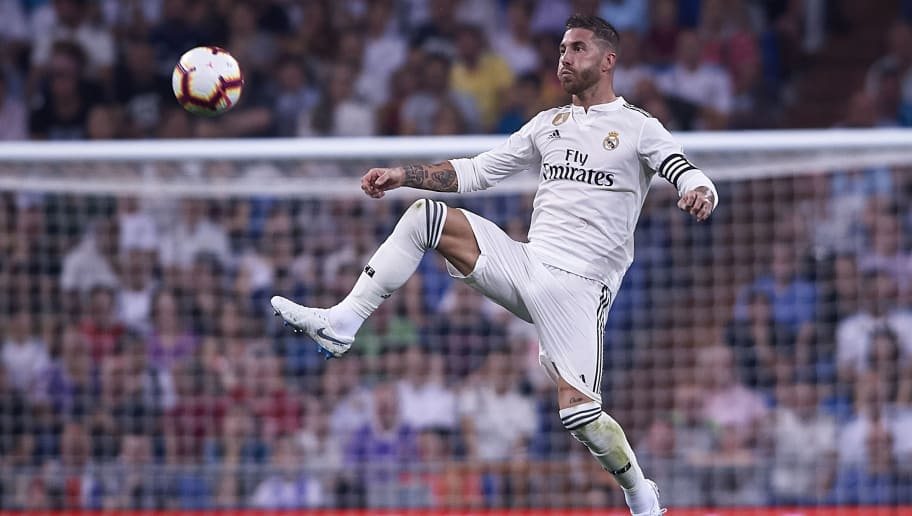MADRID, SPAIN - SEPTEMBER 22:  Sergio Ramos of Real Madrid in action during the La Liga match between Real Madrid CF and RCD Espanyol at Estadio Santiago Bernabeu on September 22, 2018 in Madrid, Spain.  (Photo by Quality Sport Images/Getty Images)