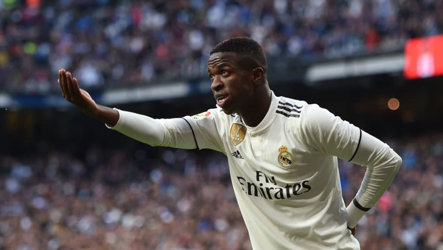 MADRID, SPAIN - NOVEMBER 03: Vinicius Junior of Real Madrid celebrates after scoring their opening goal during the La Liga match between Real Madrid CF and Real Valladolid CF at Estadio Santiago Bernabeu on November 03, 2018 in Madrid, Spain. (Photo by Denis Doyle/Getty Images)