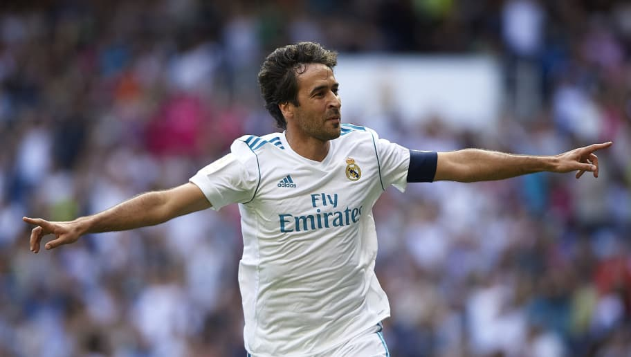 MADRID, SPAIN - JUNE 3:  Raul Gonzalez Blanco of Real Madrid Legends celebrates scoring his team's first goal during the Corazon Classic match between Real Madrid Legends and Asenal Legends at Estadio Santiago Bernabeu on June 3, 2018 in Madrid, Spain. (Photo by Quality Sport Images/Getty Images)