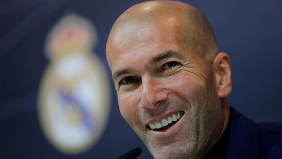 MADRID, SPAIN - MAY 31: Zinedine Zidane attends a press conference to announce his resignation as Real Madrid manager at Valdebebas Sport City on May 31, 2018 in Madrid, Spain. Zidane steps down from the position of Manager of Real Madrid, after leading the club to it's third consecutive UEFA Champions League title. (Photo by Gonzalo Arroyo Moreno/Getty Images)